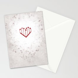 Music Heart gray Stationery Cards