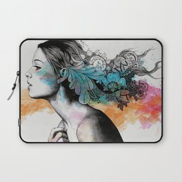 Moral Eclipse II (portrait of woman with doodles sketch) Laptop Sleeve