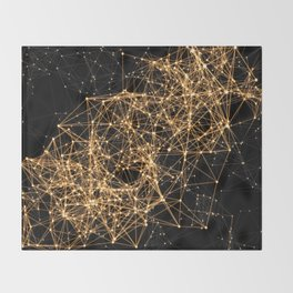 Shiny golden dots connected lines on black Throw Blanket