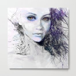 Girl Face Eyes Hair Drawing Metal Print