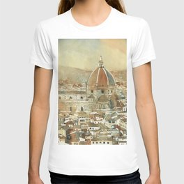 Duomo and cityscape of Florence from the Palazzo di Michelangelo- Florence, Italy. Watercolor painting of Duomo Firenze T-shirt