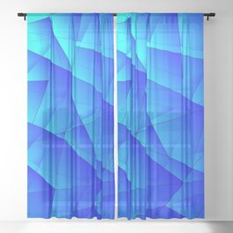 Bright sea pattern of heavenly and blue triangles and irregularly shaped lines. Sheer Curtain