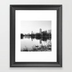 Black & White Chicago Reflected Skyline Framed Art Print