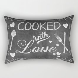 Cooked with Love Retro Chalkboard Sign Rectangular Pillow