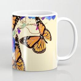 YELLOW MONARCH BUTTERFLY GARDEN & BLUE MORNING GLORIES ART Coffee Mug