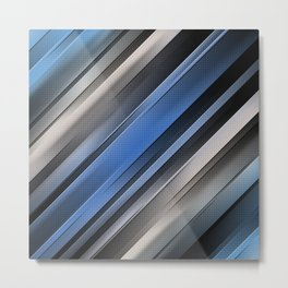 Abstract Blue Stripes Metal Print