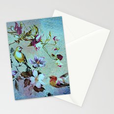 Oriental blossoms and birds Stationery Cards