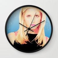 buffy the vampire slayer Wall Clocks featuring Buffy the Vampire Slayer, Cross by Your Friend Elle