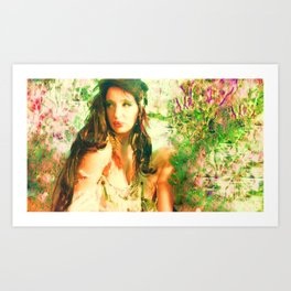 Fairy feather wood nymph ladykashmir  painting , Art Print