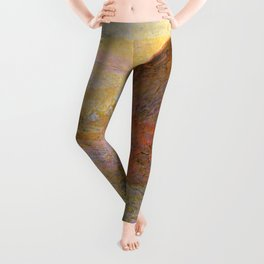 Haystacks, (Sunset) by Claude Monet Leggings
