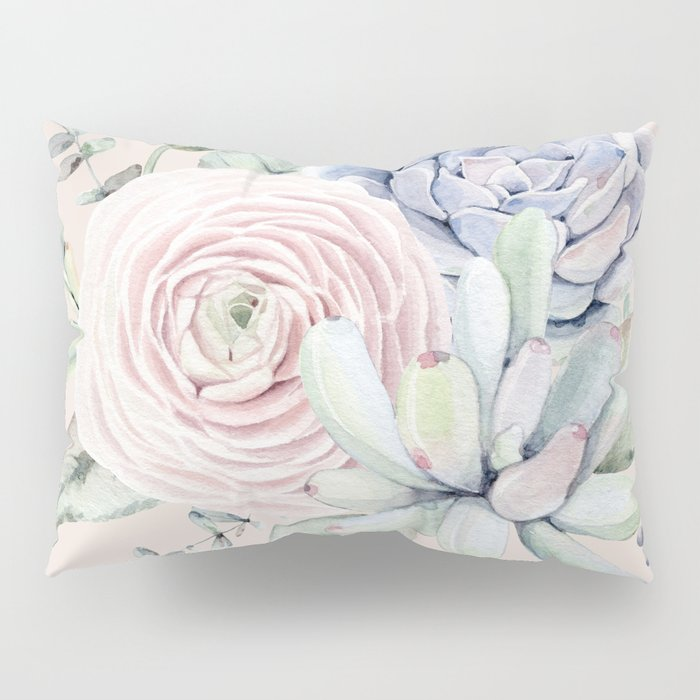 Pretty Pink Succulents Garden Pillow Sham