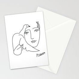Woman and dove portrait abstract minimal contemporary inspired by picasso Stationery Cards