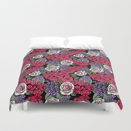 Chevron Floral Black Duvet Cover