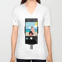 selfie V-neck T-shirts featuring Selfie? by Chiara Belmonte