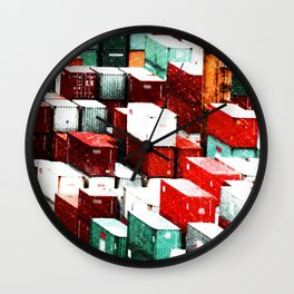 Mint Red Shipping Containers  Wall Clock