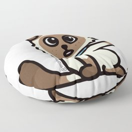 Cute Cat Peek a Boo Says, Stay At Home - Hey you, Stay Home - Siamese Birman Cat - mydoodlesateme Floor Pillow