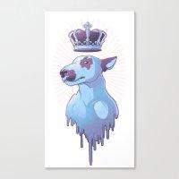 bull terrier Canvas Prints featuring BULL-TERRIER by La fuite du cerveau