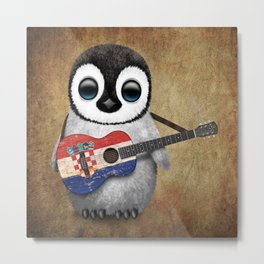 Baby Penguin Playing Croatian Flag Guitar Metal Print