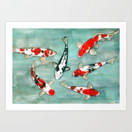 Le ballet des carpes koi Art Print