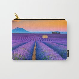 Blooming Lavender Field & Sunset Floral Landscape Photograph Carry-All Pouch