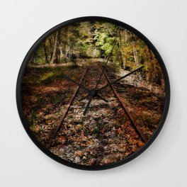 Forward Along the Railroad Tracks Wall Clock