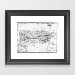 Vintage Map of Puerto Rico (1901) BW Framed Art Print