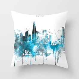 Seoul Monochrome Blue Skyline Throw Pillow