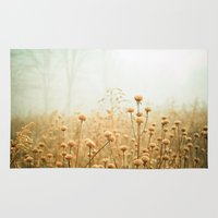 fog Area & Throw Rugs featuring Daybreak in the Meadow by Olivia Joy StClaire