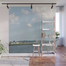 Freighter on NY river Wall Mural