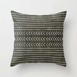 arrow stripes - cream on dark olive Throw Pillow