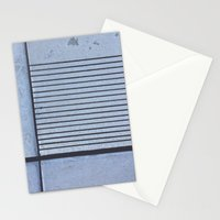 Concrete Stripe Blue Stationery Cards