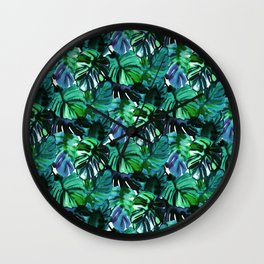 Welcome to the Jungle Palm electric green Wall Clock