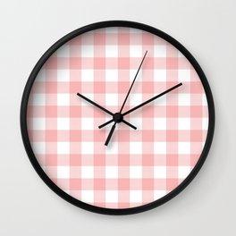 Coral Checker Gingham Plaid Wall Clock