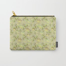 Greenish floral pattern . Carry-All Pouch