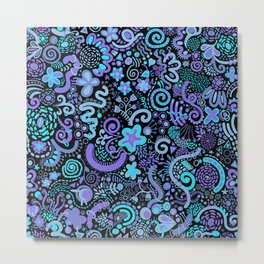 Green Blue Purple Zendoodle Metal Print