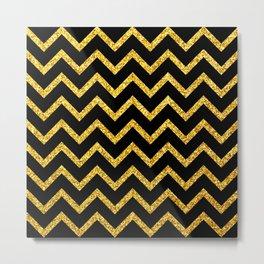 Art Deco Glitter-Gold Zigzag Lines on Black Pattern Metal Print