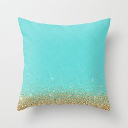 Sparkling gold glitter confetti on aqua teal damask background Throw Pillow