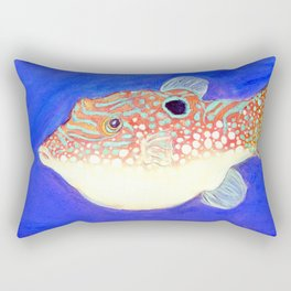 Blue Spotted Orange Toby Puffer Rectangular Pillow