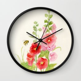 Watercolor Flower Pink Hollyhock and Bee Wall Clock