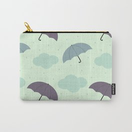 rainy sky with colorful umbrella seasonal pattern Carry-All Pouch