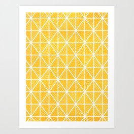 Yellow Triangle Dots Pattern Art Print