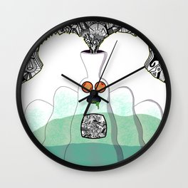 Another Planet Green Blue Wall Clock