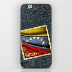 Grunge sticker of Venezuela flag iPhone & iPod Skin