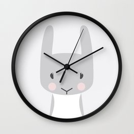 Bunny portrait, light Wall Clock