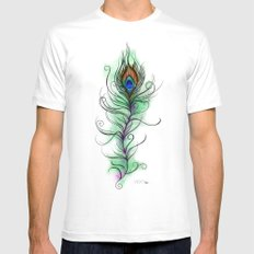 Peacock Feather MEDIUM Mens Fitted Tee White