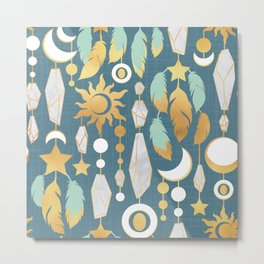 Bohemian spirit // dark turquoise background Metal Print