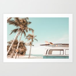 Retro Camper Van with Surfboard at the Beach Art Print