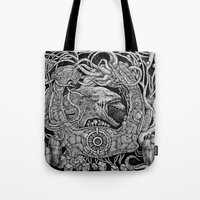 prometheus Tote Bags featuring Prometheus by Walid Aziz