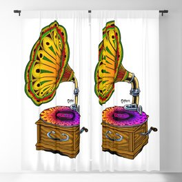 Psychedelic Gramophone Record Player Blackout Curtain