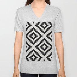 Urban Tribal Pattern No.18 - Aztec - Black and White Concrete Unisex V-Neck